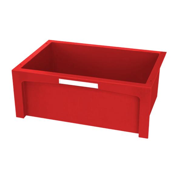 Cajón rojo grande con etiqueta frontal blanca