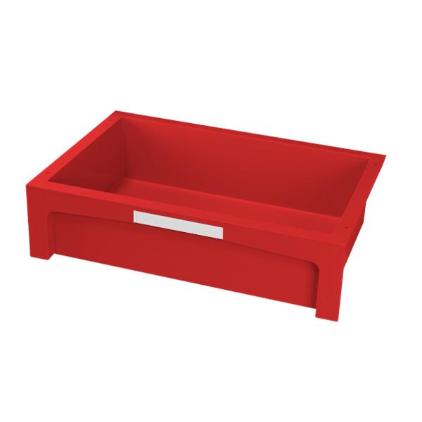 Cajón rojo mediano con etiqueta frontal blanca