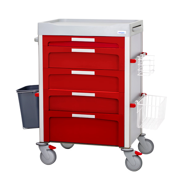 Red dressing trolley with 3 small drawers, 2 medium drawers and a large drawer with front labels and accessories