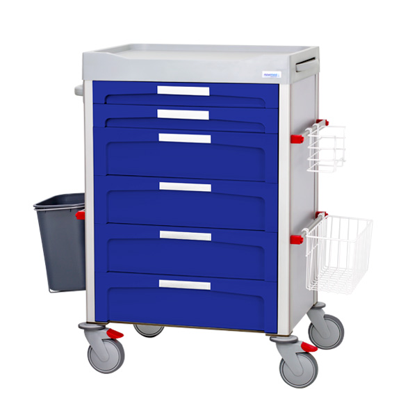 Blue dressing trolley with five medium drawers, white labels on the front of each one and accessories on both sides