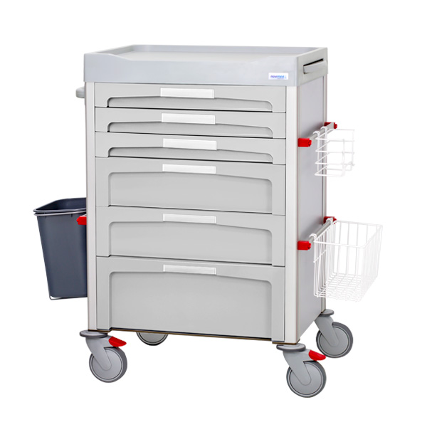 Gray dressing trolley with 3 small drawers, 2 medium drawers and a large drawer with front labels and accessories