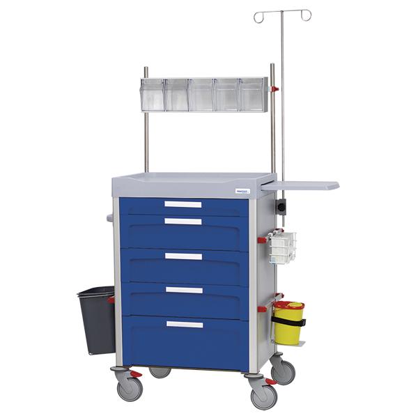 Carro de anestesia azul con accesorios: porta sueros, papelera, contenedores basculantes, bote de fungibles
