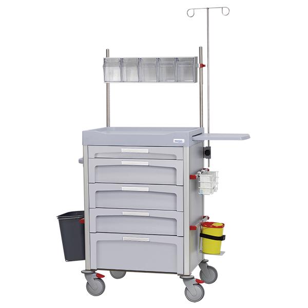 Carro de anestesia gris con contenedores basculantes y accesorios lateral