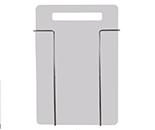 Tabla de metal con una apertura en la parte superior que hace función de asa