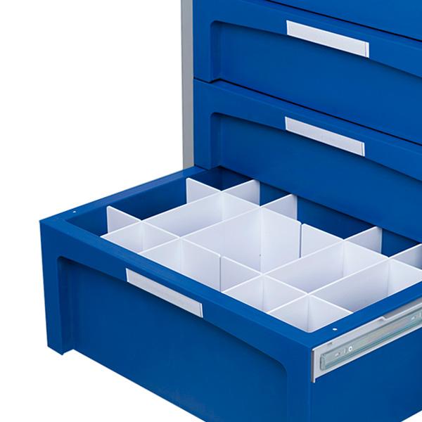 Ejemplo de carro con un cajón grande abierto en cuyo interior se encuentran los separadores
