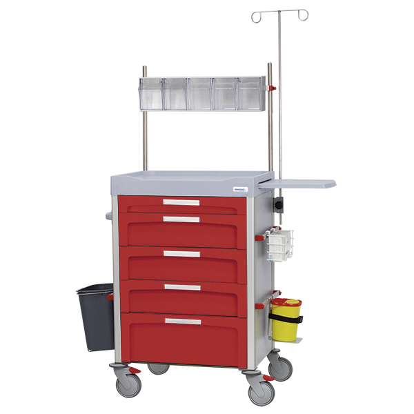 Red anesthesia cart with side accessories, tilt bin storage and 4 wheels