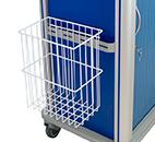 Metal bin hooked to the sidebar of a medication cart