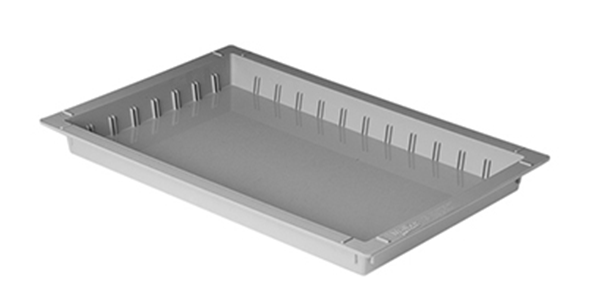 50-millimeter high white ABS tray with slots for placing dividers