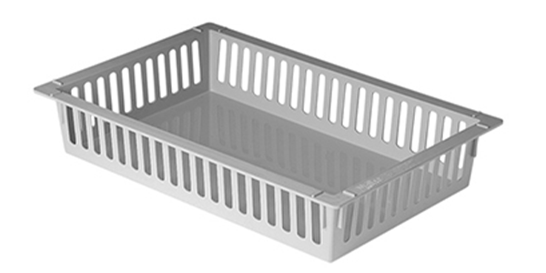 100 mm high white ABS tray with slots to place dividers