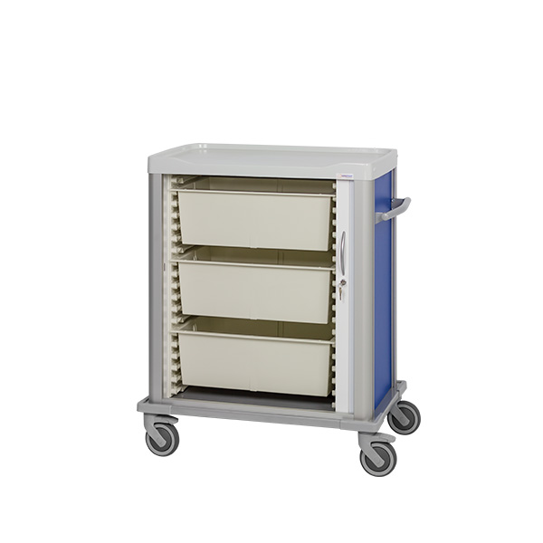 Procedure cart with 3 large trays inside, shutter door with lock and pusher on its side