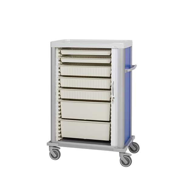 Procedure cart with 2 small, 3 medium and 2 large ISO trays inside