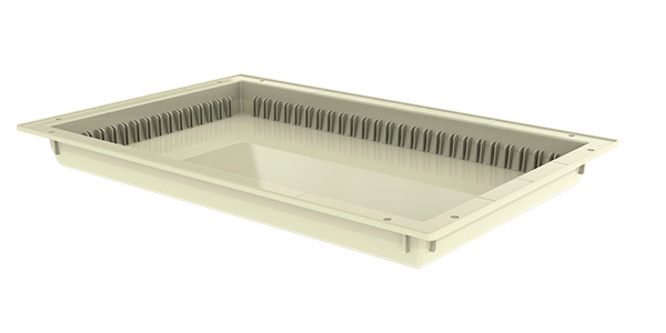 Rectangular cream colored tray, 50 millimeters heigh