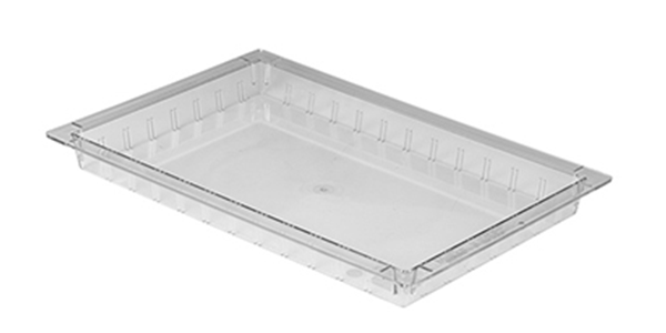 50 millimeter high transparent colored polycarbonate tray with slot for placing dividers