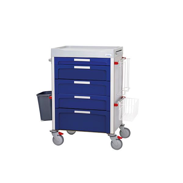 Carro de curas de cajones azul con accesorios laterales y 4 ruedas manner
