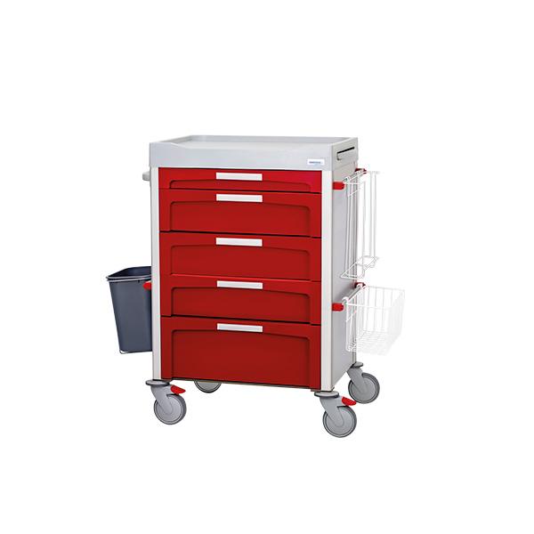 Carro de curas rojo de cajones con accesorios laterales: papelera y portaguantes