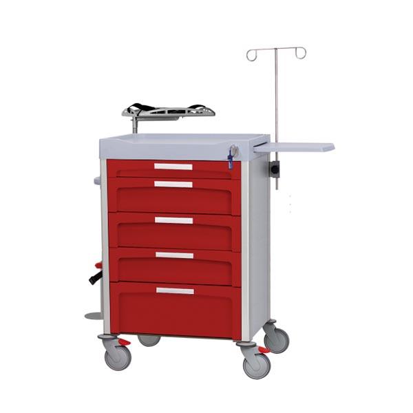 Carro rojo de emergencias con instrumental para reanimación cardio-pulmonar