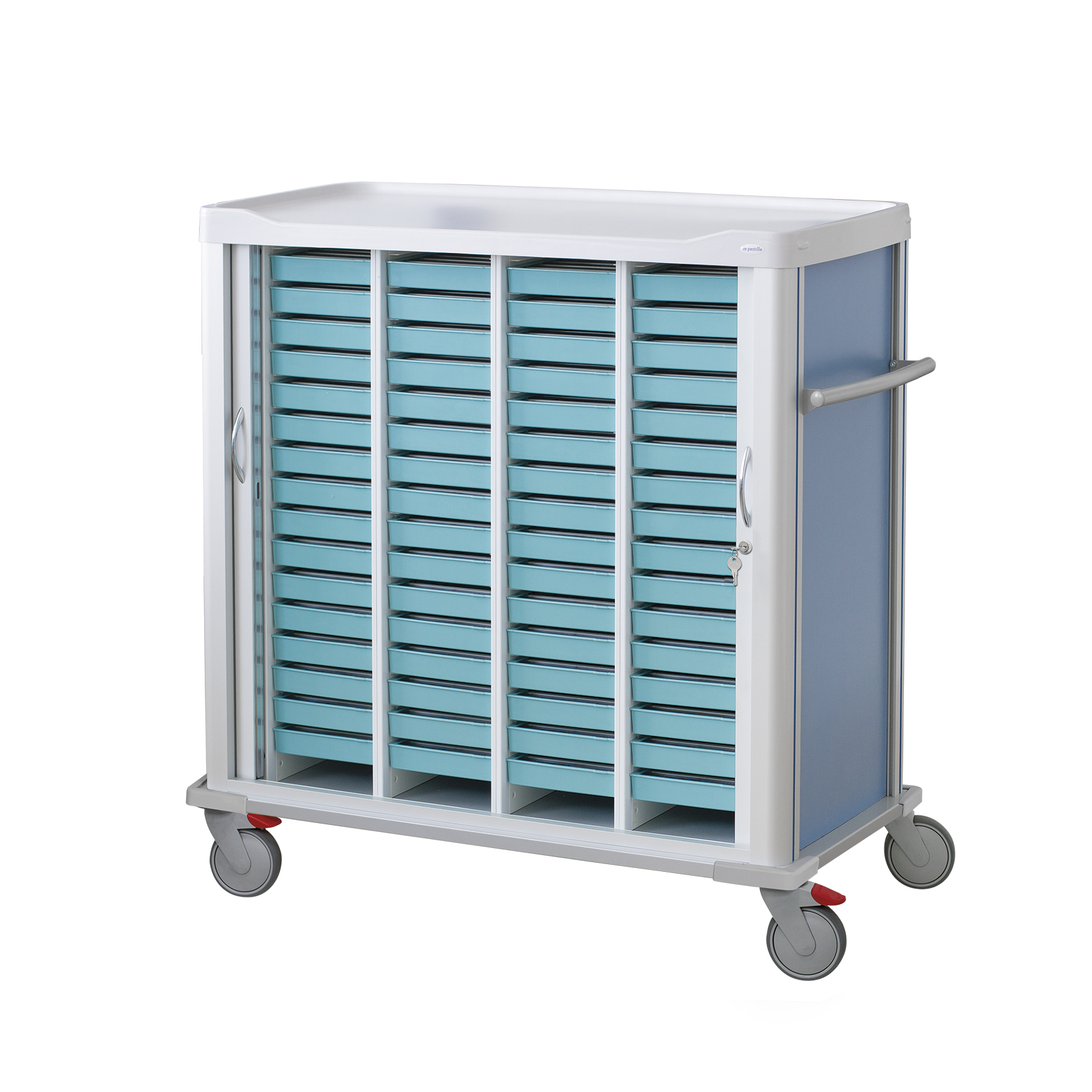Medication cart with shutter door with lock and pusher on the side with 64 weekly trays inside