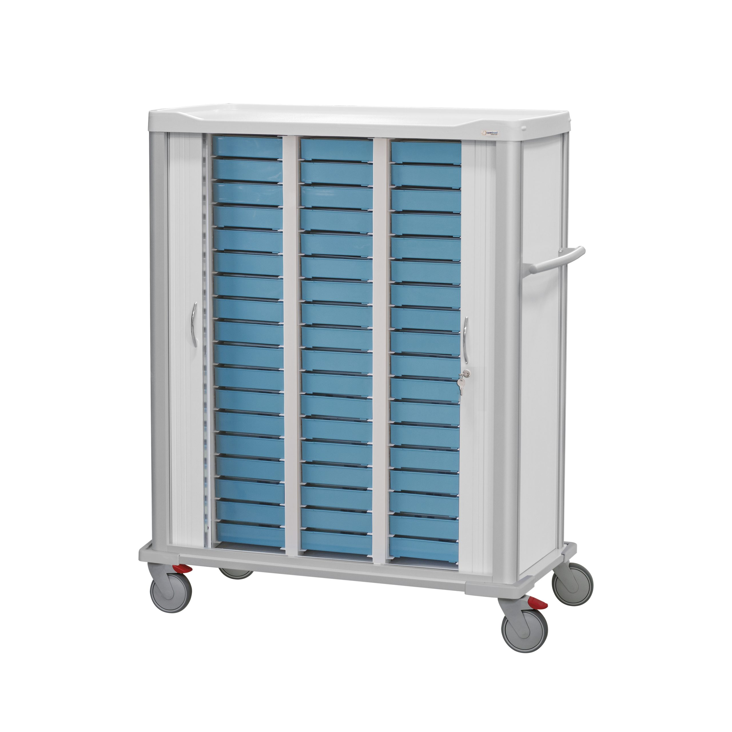 Trolley with two shutters and 54 weekly dispensers inside, placed in 3 columns of 18 blue weekly trays