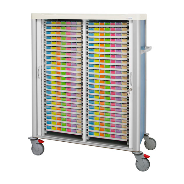 Shutter trolley with 44 weekly medication trays inside divided into 2 columns, with lock and pusher