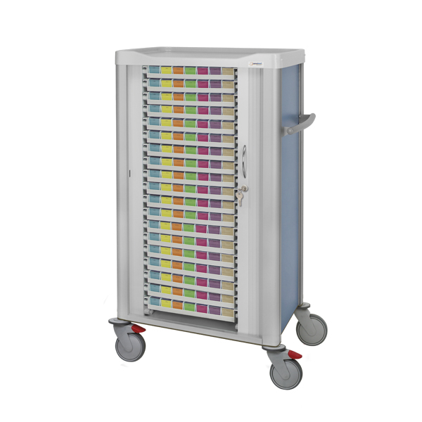Lockable shutter cart with 19 weekly medication trays inside with colored front labels