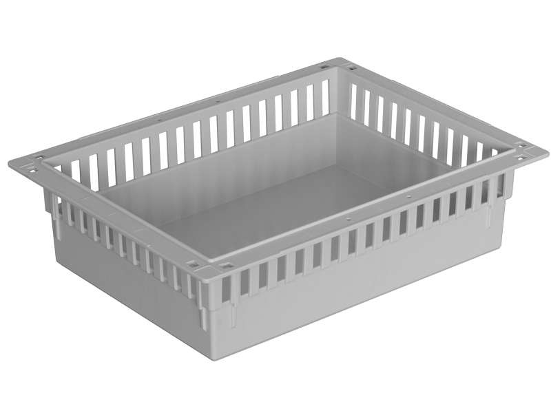 Rectangular white tray with openings in the side walls