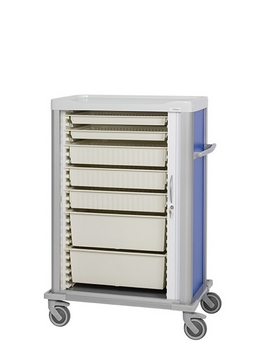 Side opening roller shutter door cart with cream-colored trays in different sizes