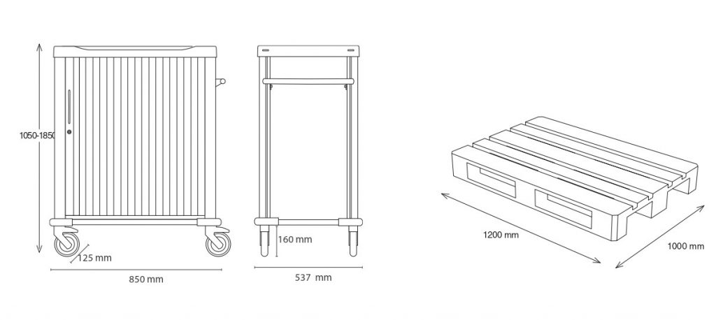 Front and side drawing of a medical cart with its height, width and depth measurements. On the right, a wooden pallet
