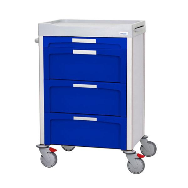 Carro azul de cajones con 1 pequeño y 3 grandes