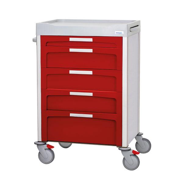 Carro rojo de cajones con ruedas, tiene un cajón pequeño, 3 medianos y 1 grande con etiquetas frontales blancas