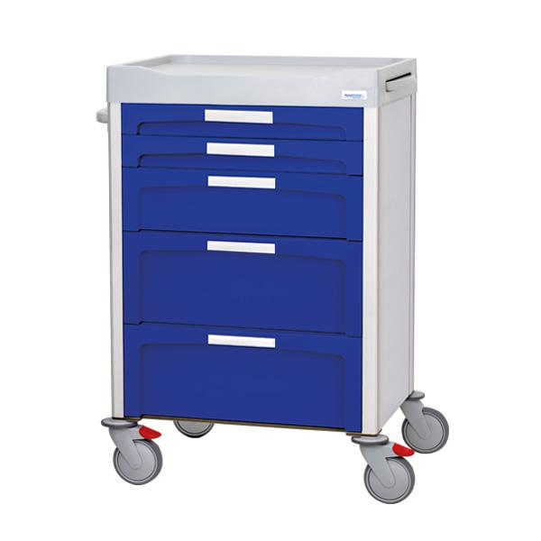 Carro azul con 2 cajones pequeños, 1 cajón mediano en el centro y 2 cajones grandes, todos con etiquetas frontales