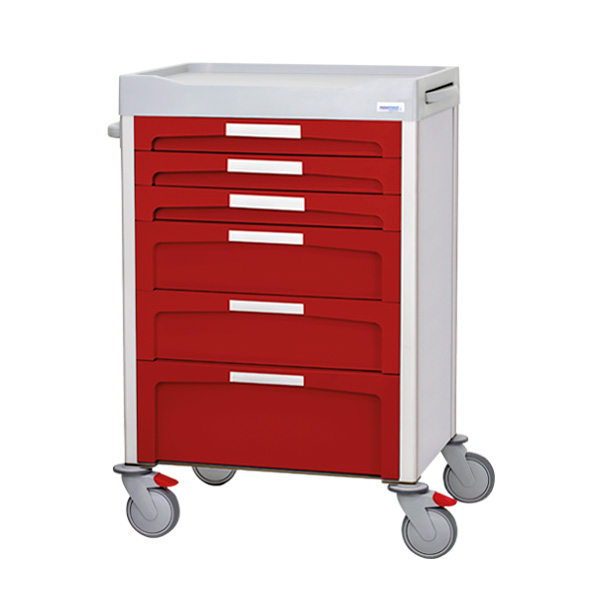 Red drawer trolley with white front labels, 3 small, 2 medium and 1 large drawers