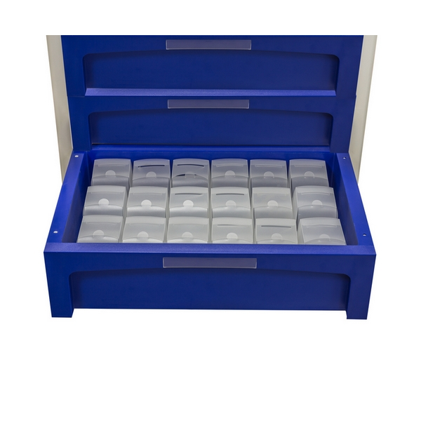 Blue drawer cart with one open drawer and 18 transparent robot boxes inside