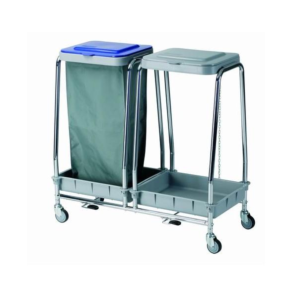 Carro de ropa sucia con tapa y capacidad para 2 bolsas