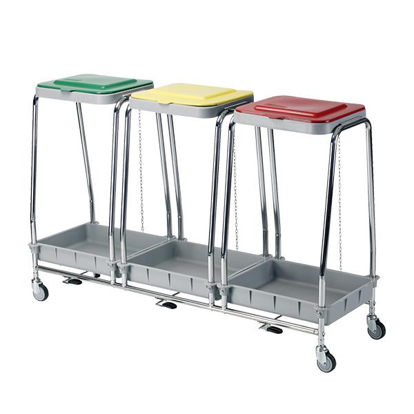 Carro de ropa sucia de 3 tapas de colores con capacidad para 3 bolsas