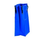 Large blue laundry bag with black straps for attachment to the car