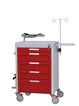 Carro rojo de emergencias con accesorios para atender una parada cardio respiratoria y cajones de diferentes tamaños