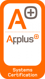 Quality certificate in orange and white colors with the Applus seal