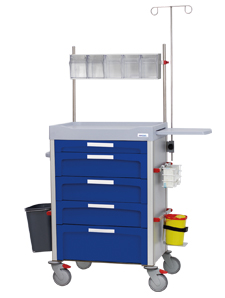 Blue anesthesia trolley with drawers, tilting bins, IV pole, waste bin, removable table and glove holder