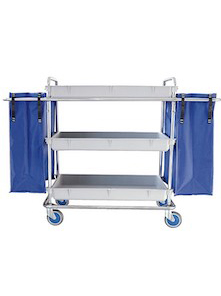 Steel trolley with 3 trays for clean clothes distribution and 2 blue bags at the ends to collect dirty clothes
