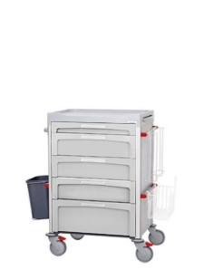 Gray medical cart with drawers of different sizes and accessories on its sides such as a wastebasket, basket, glove holder