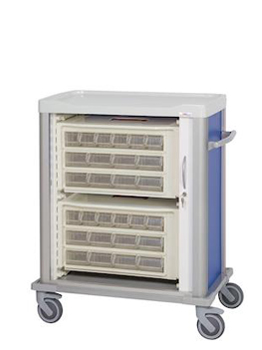 Medication cart with cassettes inside for unit dose distribution system