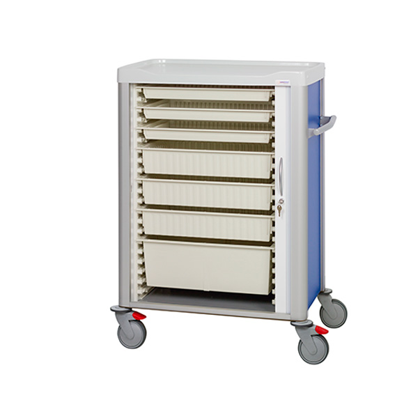 Multi-purpose cart with shutter door and trays inside