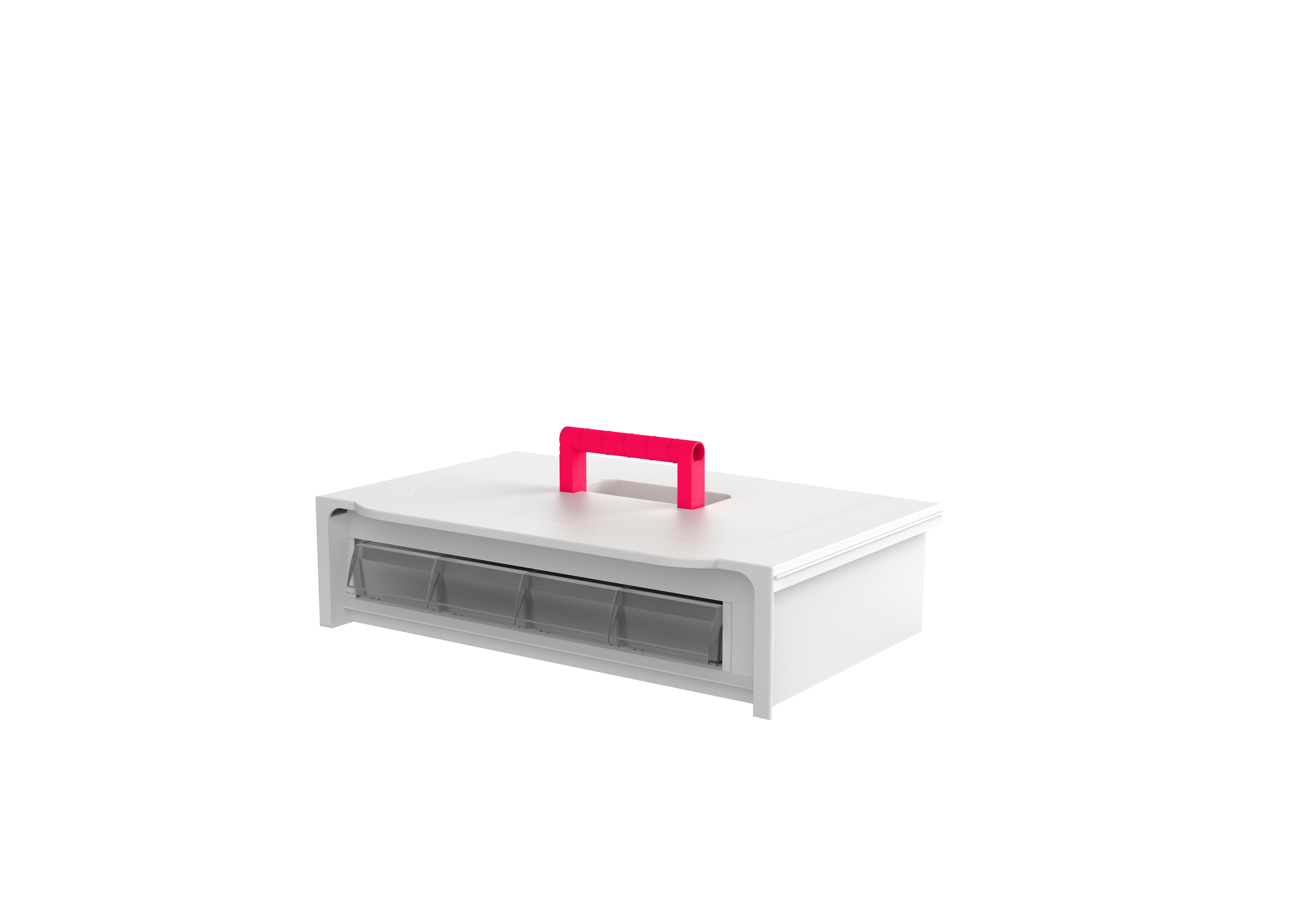 Cassette de 1 fila con 4 cubetas en su interior
