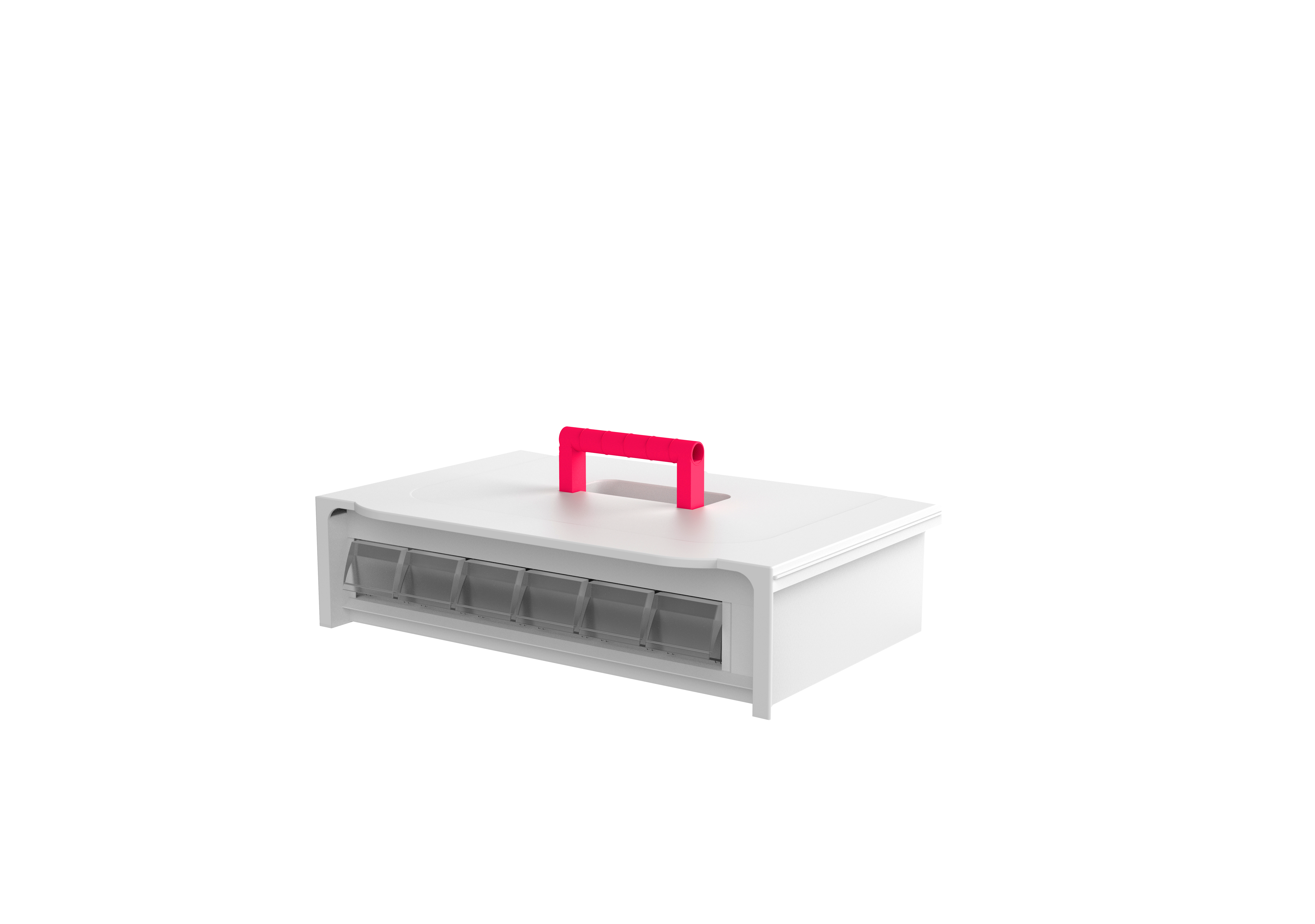 Cassette de 1 fila con 6 cubetas pequeñas en su interior