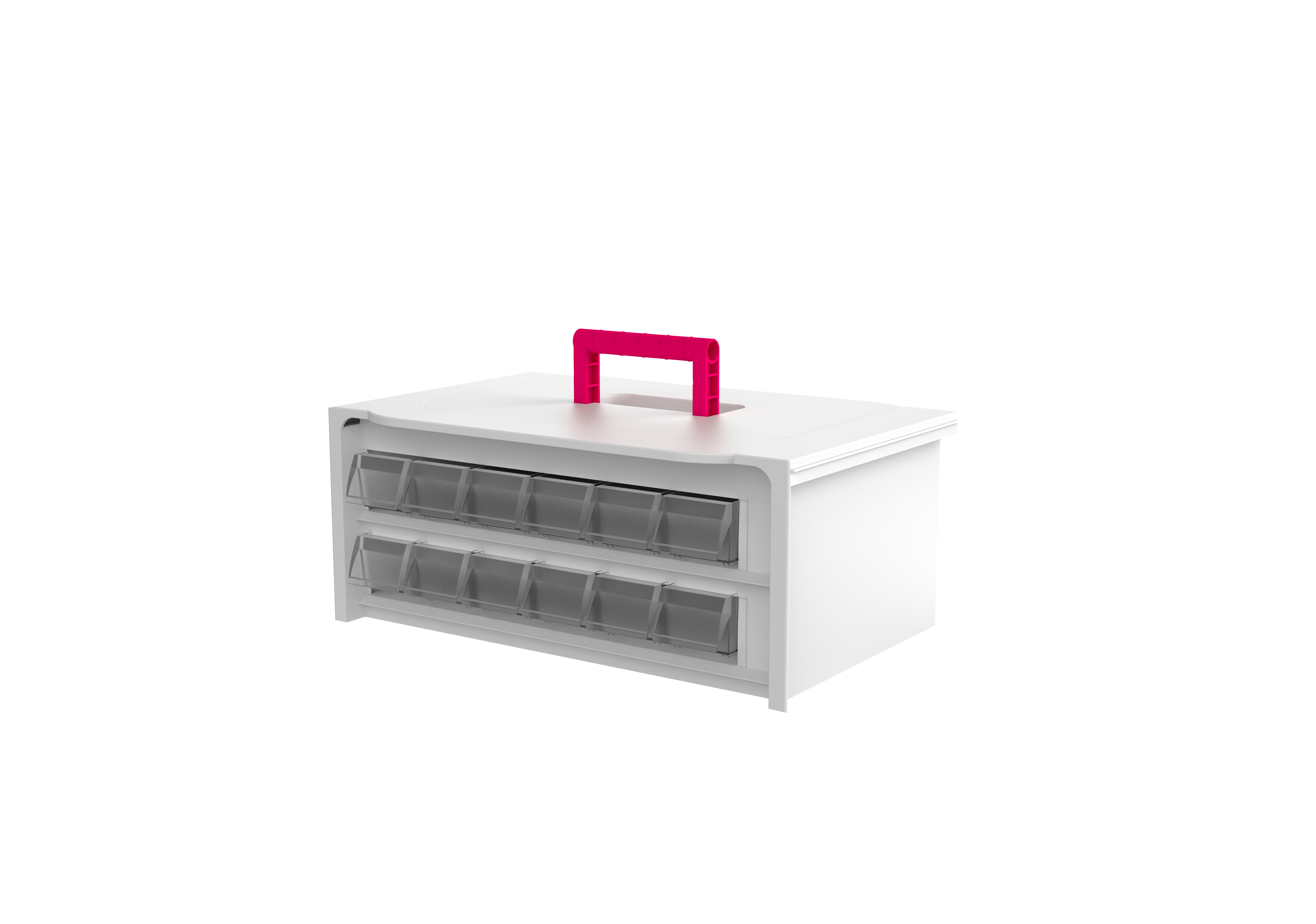 Cassette de 2 filas con 12 cubetas pequeñas (6 por nivel)