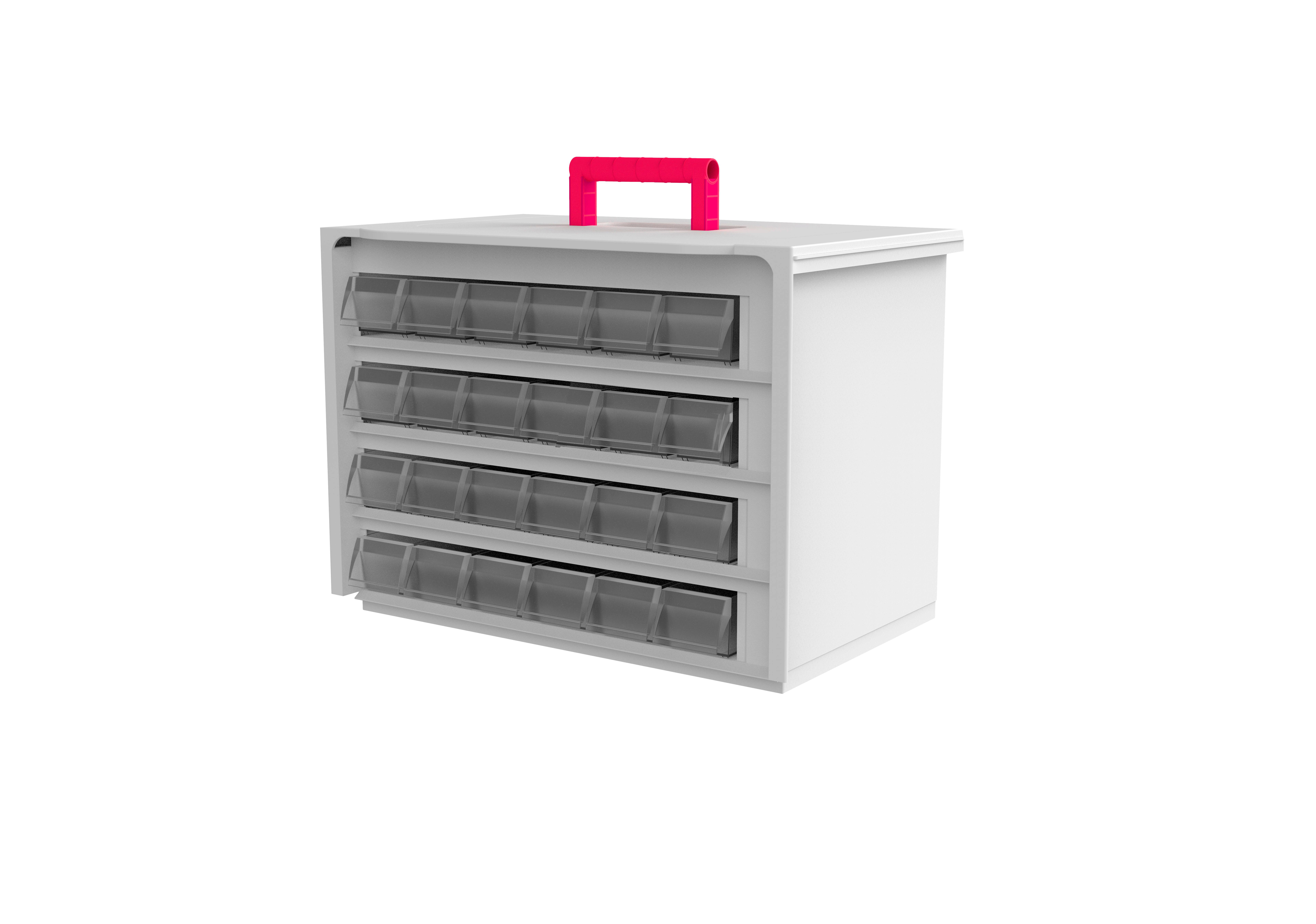 Cassette de 4 filas con 24 cubetas en su interior