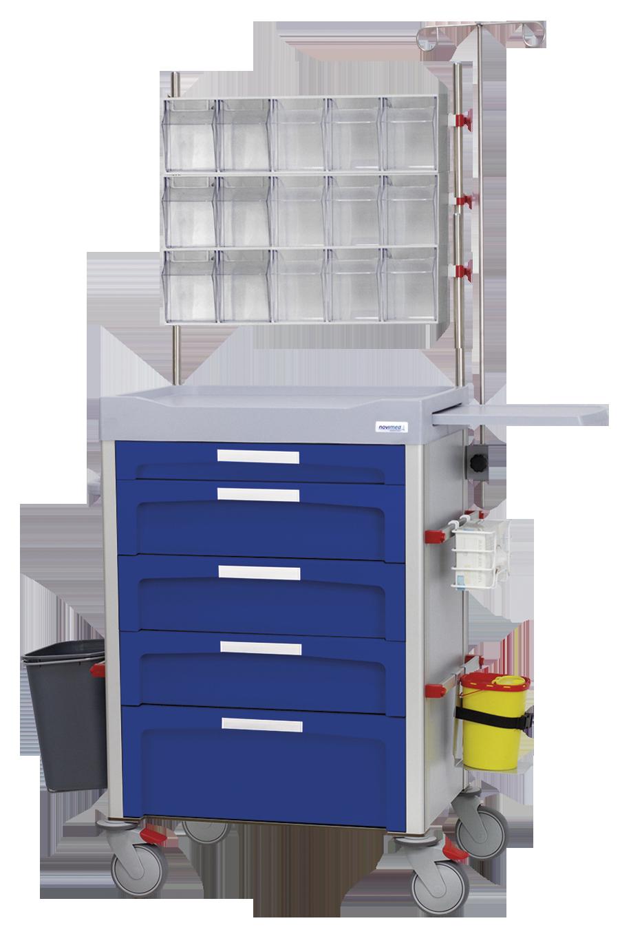 Carro de contenedores basculantes 4 box en 3 filas