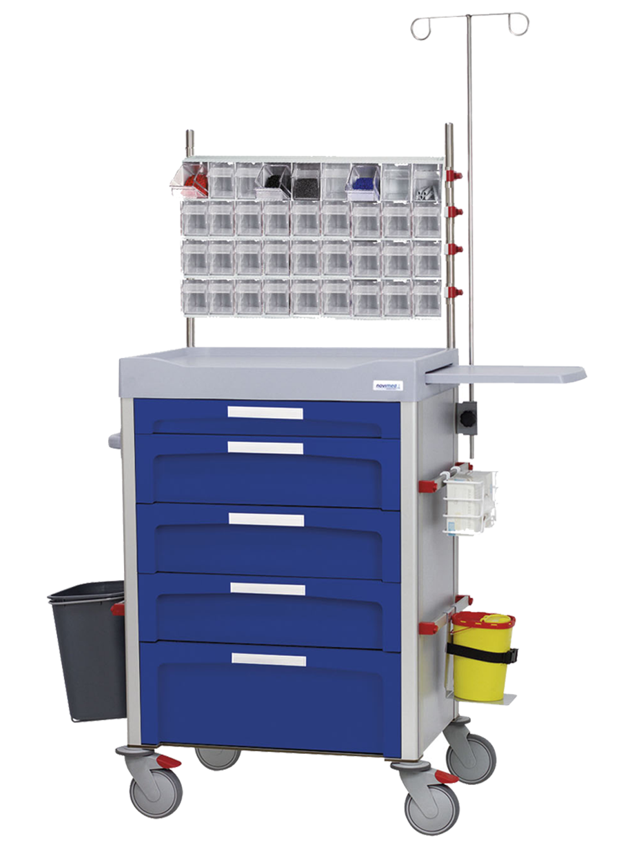 Drawer trolley with tilting containers on the top and accessories on the sides, IV pole, glove holder