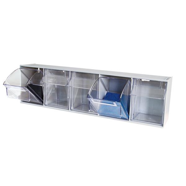 tilt bin storage cart with 4 boxes