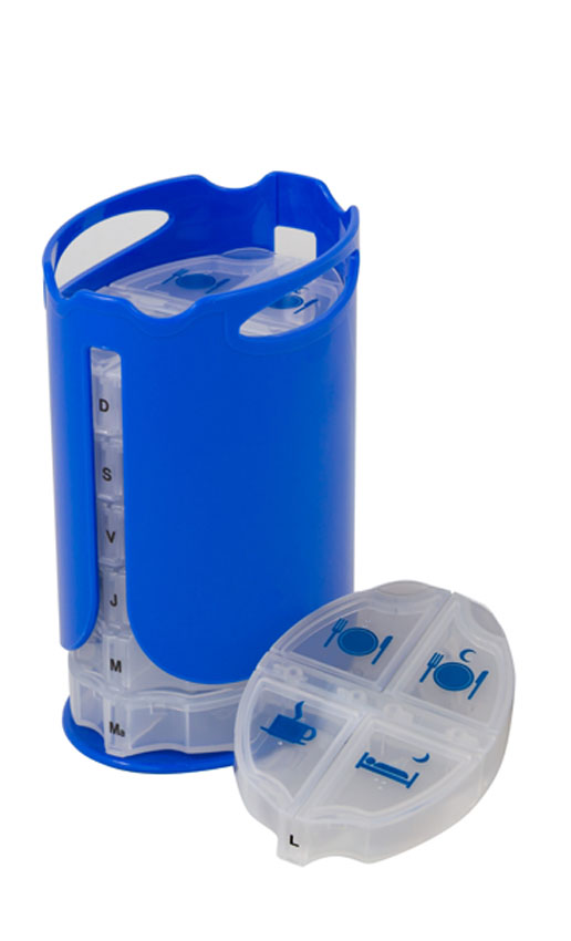 Daily pill organizer, 4-times-a-day use. Portable, compact and has a high capacity. Color: Blue